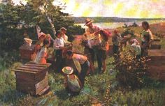 Students at the kolkhoz apiary, 1955 - Savostyanov Fyodor Vasilyevich