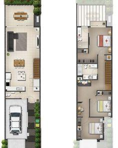 Home design trends floor plans 40 trendy ideas Narrow House Designs, Narrow Lot House Plans, Small House Floor Plans, Duplex House Plans, Garage House Plans, Small House Design, Dream House Plans, Modern House Plans, Modern House Design