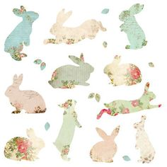 A set of 11 beautiful patterned respositionable fabric rabbit wall stickers that are ready to just peel off and apply. These fabric rabbit stickers are made from a matt eco friendly woven fabric that will stick to any smooth surface. Doll Patterns, Fabric Patterns, Wall Stickers, Wall Decals, Make A Book Cover, Peter Rabbit Nursery, Beautiful Rabbit, Easter Fabric, Easter Printables