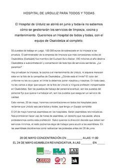 Hoy a las 11 se hará una concentración en el H. Basurto en la zona de consultas por un H.Urduliz 100%  público.