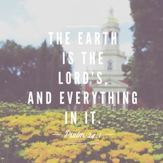 The earth is the LORD's, and everything in it, the world, and all who live in it. ~ Psalm 24:1