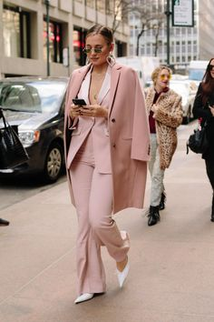 blush suit, suit street style, spring work outfit
