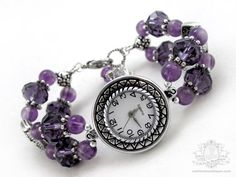 Cynara Amethyst Crystal Bracelet Wrist Watch - birthstone gift for her under 25 on Etsy, $22.00
