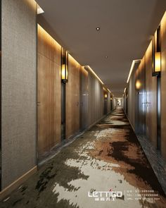 Corridor feels active with the lighting elements.  Flooring emphasizes mixing.