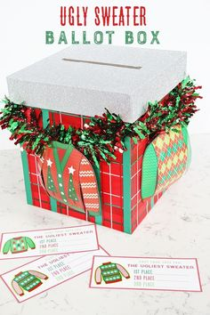 The Crafting Chicks created the best and tackiest DIY Ugly Sweater Ballot Box idea around! Make this for your Ugly Sweater Party, so your guests can vote f Tacky Christmas Party, Office Christmas Party, Christmas Games, Holiday Parties, Christmas Crafts, Company Christmas Party Ideas, Chrismas Party Ideas, Christmas Carol, Family Christmas