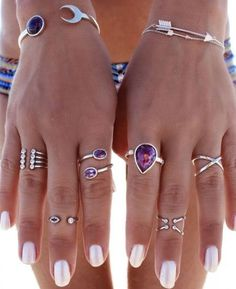 gem stones rings, Bohemian fashion jewelry http://www.justtrendygirls.com/bohemian-fashion-jewelry/ More