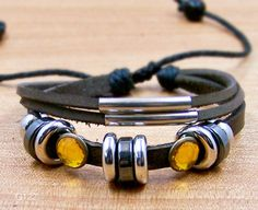 Mens Leather bracelet cuff  wristband for men by lifesunshine, $7.99