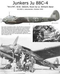 Junkers Ju 88C-4 Luftwaffe, Ww2 Aircraft, Fighter Aircraft, Military Jets, Military Aircraft, Navy Air Force, Air Fighter, Aircraft Painting, Ww2 Planes