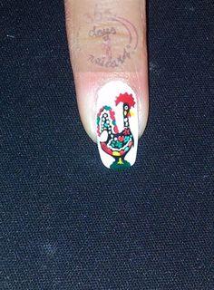 Portuguese rooster (Galo de Barcelos) by daysofnailartnl - Nail Art Gallery nailartgallery.nailsmag.com by Nails Magazine www.nailsmag.com #nailart