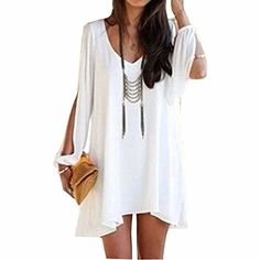 Women's Long Batwing Sleeve Mini V-Neck Irregular Hem Casual Loose Chiffon Dress * Click on the image for additional details.