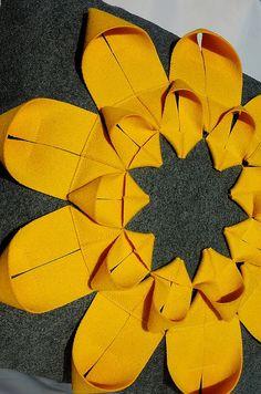 Origami Sunflower cushion. Feltlovecymru Etsy.