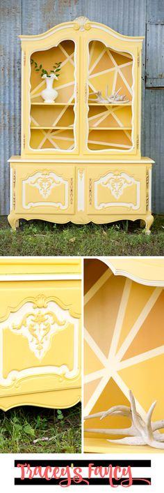DIY Painted Hutch or Painted China Hutch in five different shades of yellows by Heirloom Traditions. Tips on how to paint antique furniture and how to paint a shattered glass geometric background. Furniture Painting Tips from Tracey's Fancy
