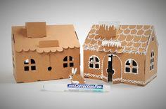 Cardborad house winter decor. Winter decoration. DIY Bird, Decoration, Winter, Outdoor Decor, House, Home Decor, Decor, Winter Time, Decoration Home