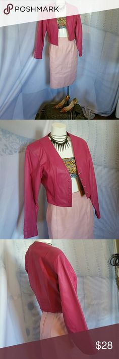 Yucatan bay leather jacket Yucatan bay fuchsia pink leather jacket. Four snap closure, some style detail sewing on the bottom of the sleeves and bottom on the back. Yucatan bay Jackets & Coats
