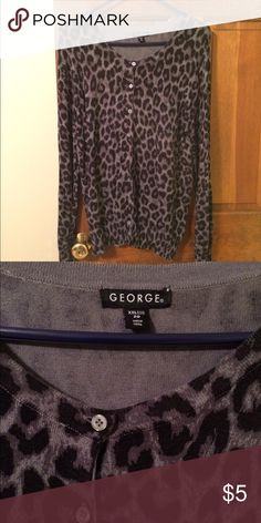 Black/gray leopard print sweater size XXL Long sleeves buttons down the front sweater. Leopard print scooped neck. George Sweaters