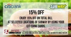 Enjoy 15% off at Subway selected locations by using your Citi Bank cards.  Download GL Deals app now to get more access to such offers! http://www.gldeals.com/myapp  #Subway #CitiBank #Citibankcards #CitiBankOffers #App #MobileApp #AndroidApp #iOSApp #AppStore #PlayStore #Deals #Discounts #Offers #Cards #UAE #Like #Share #GLDeals #UAEDeals #DubaiDeals #DubaiOffers #FreeApp