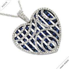 Women's Diamond & Sapphire Heart Necklace in 14K White Gold (2.53 ctw)