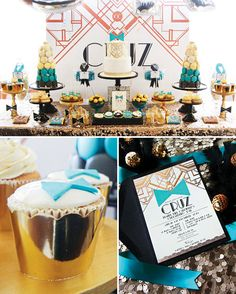 Roaring Great Gatsby Themed Christening {Teal & Rose Gold}