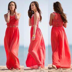 Coral lace crochet maxi long dress Maxi colar dress with crochet detail. More sizes in my store www.shopskaira.com Skaira Dresses Maxi