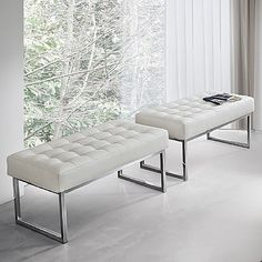 White, classic and modern 'Style' pouf. Great for a modernly furnished living room. Metal and fabric. My Italian Living. Contemporary Bean Bags, Contemporary Furniture, Leather Bench, Bench Designs, Dining Bench, Furniture Design, Indoor, Living Room, Chair
