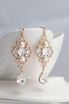Rose Gold Bridal Ohrringe Hochzeit Schmuck Perle Kristall Vintage Ohrringe Strass Hochzeit LEILA DELUXE