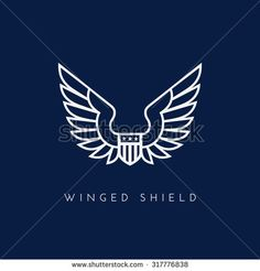 Shield with wing. Template for logo, label, emblem, sign, stamp. Vector illustration.