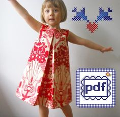 Pleat Dress PDF pattern Sizes by dandyjane on Etsy Clothing Patterns, Dress Patterns, Sewing Patterns, Sewing Clothes, Diy Clothes, Sewing Toys, Dress Sewing, Sewing For Kids, Baby Sewing