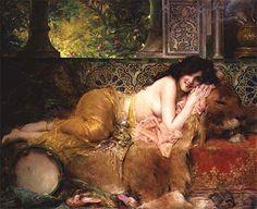 "Léon-François Comerre (1850-1916) - Haifa. Oil on Canvas. Circa 1880's. 46"" x 57"" (117cm x 144.8 cm)."