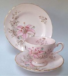 Tuscan Vintage Teacup Trio Pink Saucer Plate British High Tea