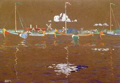 The Athenaeum - Boats (Wassily Kandinsky - )Boats Wassily Kandinsky - 1904 Private collection Painting - gouache