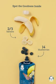 banana + 14 blueberries = the best nutrition for baby. Gerber pouches have a transparent window so you can see all the wholesome goodness inside- like the real fruits we can track right down to the farms and fields they were grown in! Photography Tutorials, Food Photography, Photography Backdrops, Kirlian Photography, Photography Editing, Photography Training, Photography Backgrounds, Photography Shirt, Photography Hashtags