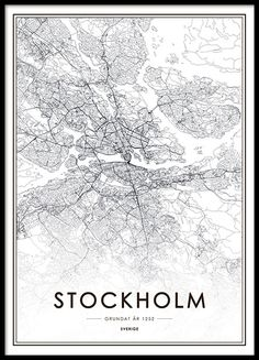 Black and white Poster with a map of Stockholm. A nice poster that fits a cleanly designed decor, both modern and vintage.