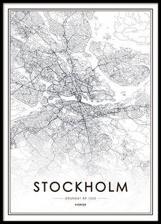 Tavla, poster med Stockholm karta. Snygg affisch med stadskarta över Stockholm. Från 129kr.