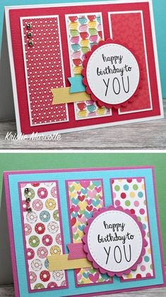 Strips of patterned scrapbook paper are matted and really shine in this cute card layout! Simple Birthday Cards, Bday Cards, Kids Birthday Cards, Handmade Birthday Cards, Greeting Cards Handmade, Card Birthday, Birthday Images, Birthday Greetings, Birthday Wishes