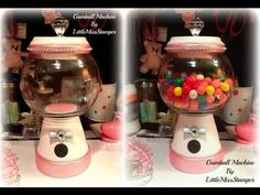 Here is a video showing my first attempt at a homemade gumball machine. I got the idea from pinterest and you can find the original pin on my   YouTube board on my Pinterest - http://pinterest.com/LittleMissStamp/    I think it's great for store not only gum or candy but super cute for storing embellishments, flowers, etc =) Or you can use it as a ...