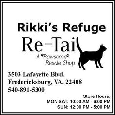 Shop at RE-TAIL, our wonderful resale store in Fredericksburg, VA.  RE-TAIL on Facebook: https://www.facebook.com/ReTail.org   STORE HOURS:  MON-SAT: 10:00 AM – 6:00 PM SUN: 12:00 PM – 5:00 PM