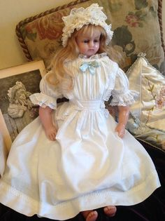 ANGELICA - a beautiful signed antique English poured wax girl doll by from angelsandforgetmenots on Ruby Lane