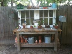 Potting bench made from recycled materials.