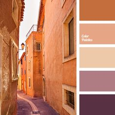 The narrow streets of old European cities in hot summer afternoon are full of these colours - chocolate and beige, muted peach and lavender, violet. Prepar.