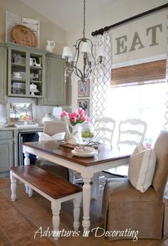 Soft paint colour ideas for a rustic country or farmhouse style home with Sherwin Williams paint.  #farmhouse #farmhousediningroom #countrystyle Photo source:  Adventures in Decorating @beccabertotti