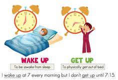 ESL, wake up and get up, ESL phrasal verbs, ESL teaching ideas