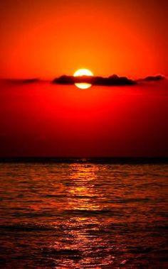 ~ 'Fiery Sunset Over the Ocean' ~ by lakisha