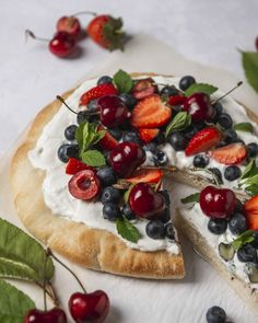 Fruit Pizza with loads of fresh berries- a healthy dessert for summertime! Following A Recipe, Pizza Dough, Vegetable Pizza, Summertime, Berries, Strawberry, Fresh, Healthy, Desserts
