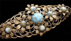 Antique Czech Glass Brooch Gold Washed Silver Blue Turquoise Art Deco Marked | eBay