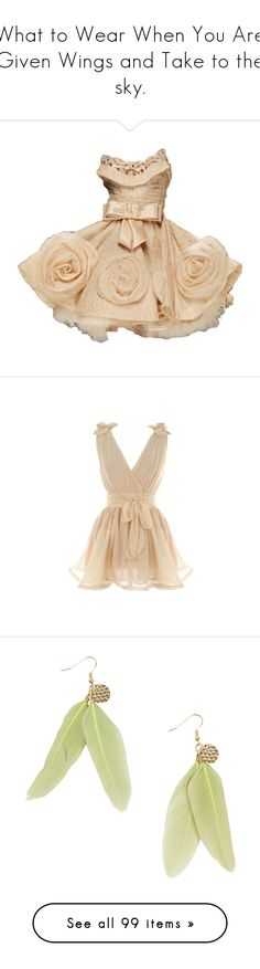 """""""What to Wear When You Are Given Wings and Take to the sky."""" by nthemermaid ❤ liked on Polyvore featuring dresses, vestidos, gowns, short dresses, mini dress, beige dress, beige short dress, tops, short flower dresses and cross over dress"""