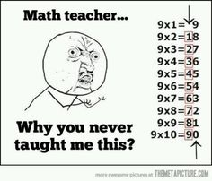 Multiplication This is awesome! My mom taught me this growing up and I am now teaching my daughter it. My own math teacher at the time didn't even realize it until I showed her one day what Mom had shown me. :-) Make math easier for your kiddos! Math Teacher, Teaching Math, Math Tutor, Math Class, Teacher Quotes, Math Quotes, Teacher Funnies, In Kindergarten, Kids Learning