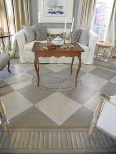 Painted Floor Cloth - Living Room by Gerrie Bremermann Painted Floor Cloths, Painted Floors, Painted Rug, Painted Canvas, Painted Furniture, My French Country Home, Wood Cladding, Living Room Carpet, Living Rooms