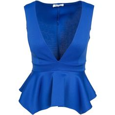 Nly One Deep V Peplum Top ($39) ❤ liked on Polyvore featuring tops, shirts, blouses, tank tops, cobalt blue, womens-fashion, polyester shirt, cobalt blue top, tall tops and deep v neck shirt