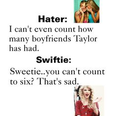 AHAHAHAH it's funny cuz it's true. Let's count the official boyfriends since fame. Joe. Taylor. John. Jake. Connor. Harry.