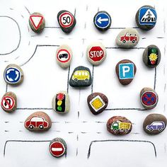 Story stones can be the perfect way to make road signs for car lovers. Toddlers and older children would love playing with these! Pebble Painting, Pebble Art, Stone Painting, Rock Painting, Car Painting, Stone Crafts, Rock Crafts, Crafts For Kids, Story Stones